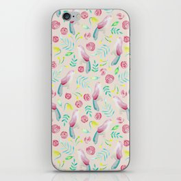 Watercolor Birds and Spring Flowers iPhone Skin