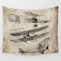 airplanes Wall Tapestries featuring airplanes by Кaterina Кalinich