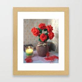 Hand knitted Roses and Vase Framed Art Print