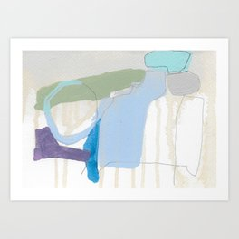 stone by stone 3 - abstract art fresh color turquoise, mint, purple, white, gray Art Print