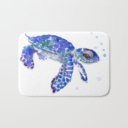 Cute Blue Baby Sea Turtle. children illustration, turtle art Bath Mat