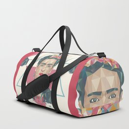 Pastel Frida - Geometric Portrait with Triangles Duffle Bag
