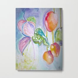 Watercolour Anthuriums & Mangoes Metal Print