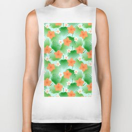 Tropical orange green teal floral palm tree pattern Biker Tank