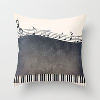 piano Throw Pillows featuring Piano by Gosia