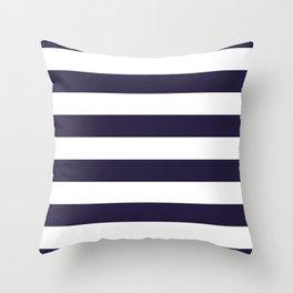 Dark eclipse Blue and White Wide Horizontal Cabana Tent Stripe Throw Pillow