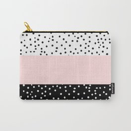 Pink white black watercolor polka dots Carry-All Pouch