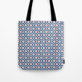 Navy Blue and Coral Diamond Ikat Pattern Tote Bag