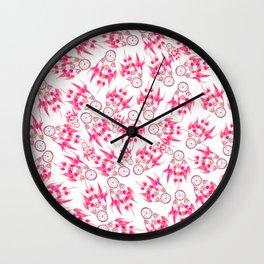 Hipster pink vintage dreamcatcher pattern  Wall Clock