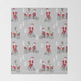 Santa christmas holiday hipster kids tandem bike with reindeer grey Throw Blanket