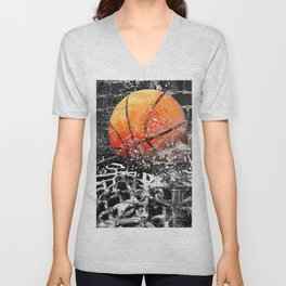 Basketball art swoosh 103 Unisex V-Neck