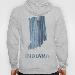 Indiana map outline Light steel blue nebulous watercolor Hoody