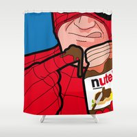 secret life Shower Curtains featuring The Secret Life of Heroes - flavourfulTreat by Greg-guillemin