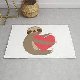Funny sloth with a red heart Rug