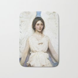 Beautiful Angel With White Wings Bath Mat