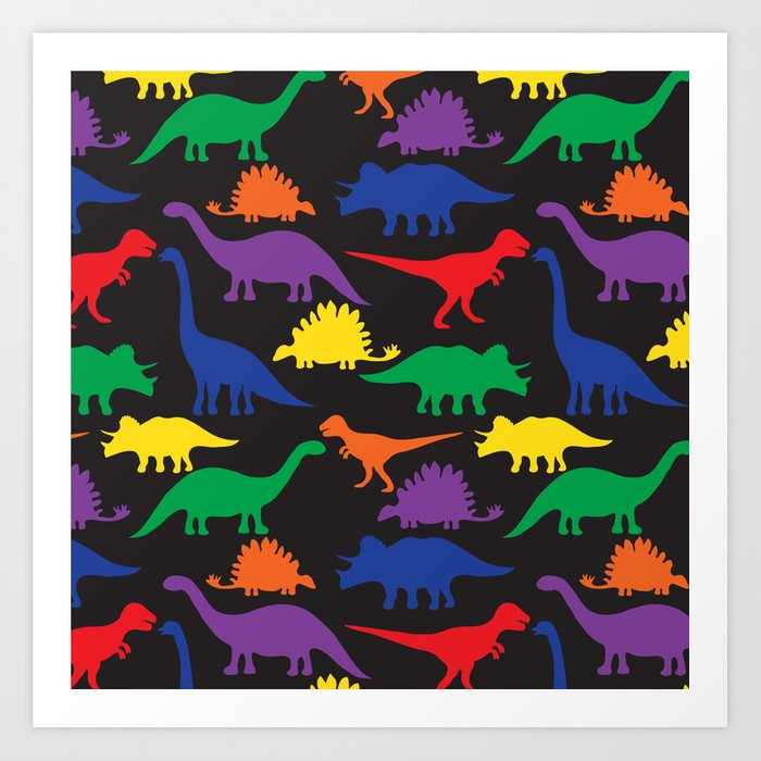 Dinosaurs - Black Art Print