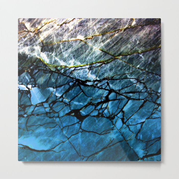 Blue Labradorite Crystal Metal Print