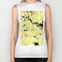 Amsterdam Yellow on Black Street Map Biker Tank