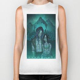 Illustration digital art native hippie couple on mountain with blue feeling Biker Tank