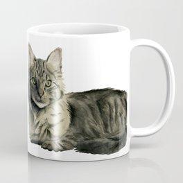 Domestic Medium Hair Cat Watercolor Painting Coffee Mug