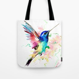 Hummingbird , Blue Turquoise Pink Tote Bag