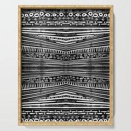 Linocut Tribal Pattern Serving Tray