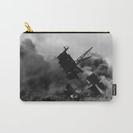 USS Arizona - burning after the Japanese attack on Pearl Harbor Carry-All Pouch