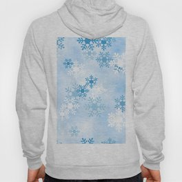 Blue White Winter Snowflakes Design Hoody