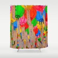 lanterns Shower Curtains featuring Gathering Lanterns by Benedict Middleton