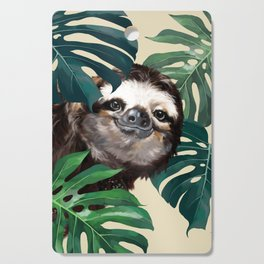 Sneaky Sloth with Monstera Cutting Board