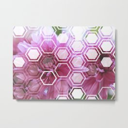 Flowers with Hexagon Overlay Metal Print
