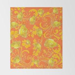 AWESOME CUMIN ORANGE & YELLOW ROSE SCROLLS  ART Throw Blanket
