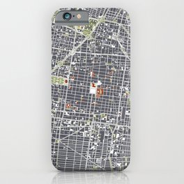 Mexico city map engraving iPhone Case