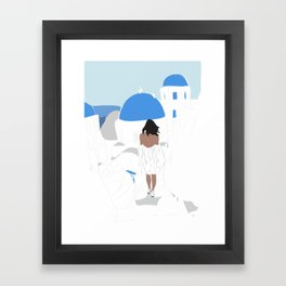 Fashion Girl Wandering the Steps of Santorini, Greece Framed Art Print