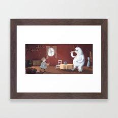 the yeti came for tea Framed Art Print