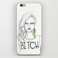 bitch iPhone & iPod Skins featuring bitch by Guadalupe Jiménez