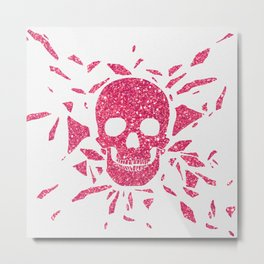 Girly Pink Glitter Abstract Skull Cool Photo Print Metal Print