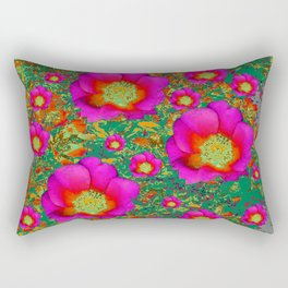 Charcoal Grey Design Fuchsia Roses Floral Garden Art Rectangular Pillow