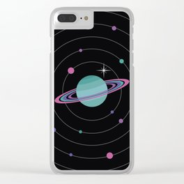 Turquoise Saturn & Bright Star Clear iPhone Case