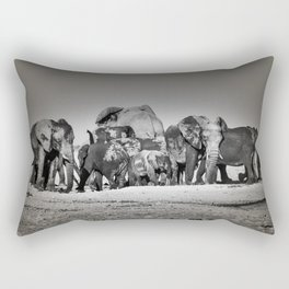 Elephant Herd Circling IV Rectangular Pillow
