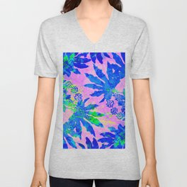 Tropical Adventure - Neon Blue, Pink and Green #tropical #homedecor Unisex V-Neck
