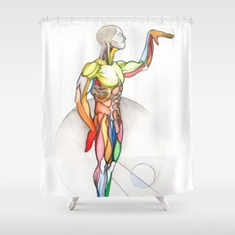 The Male, nude muscle anatomy, NYC artist Shower Curtain