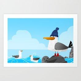 """Moin Moin"" Seagull Art Print"