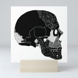 The Beauty of Human Bones // Black and White Skull // Skull Illustration with Texture Mini Art Print
