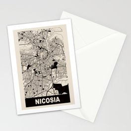 Nicosia, Cyprus, city map, Cararra Stationery Cards
