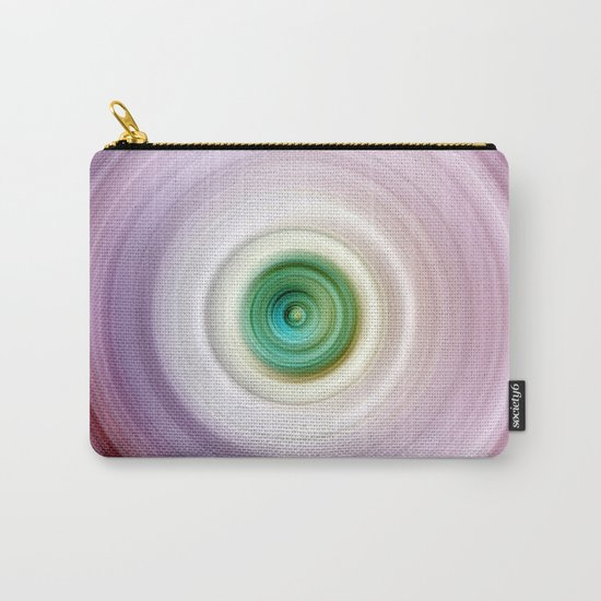 Pink and White Swirl with Green Center Carry-All Pouch