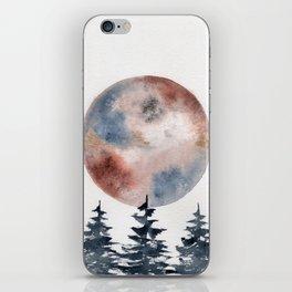 "watercolor ""Piemontite"" moon with pines iPhone Skin"