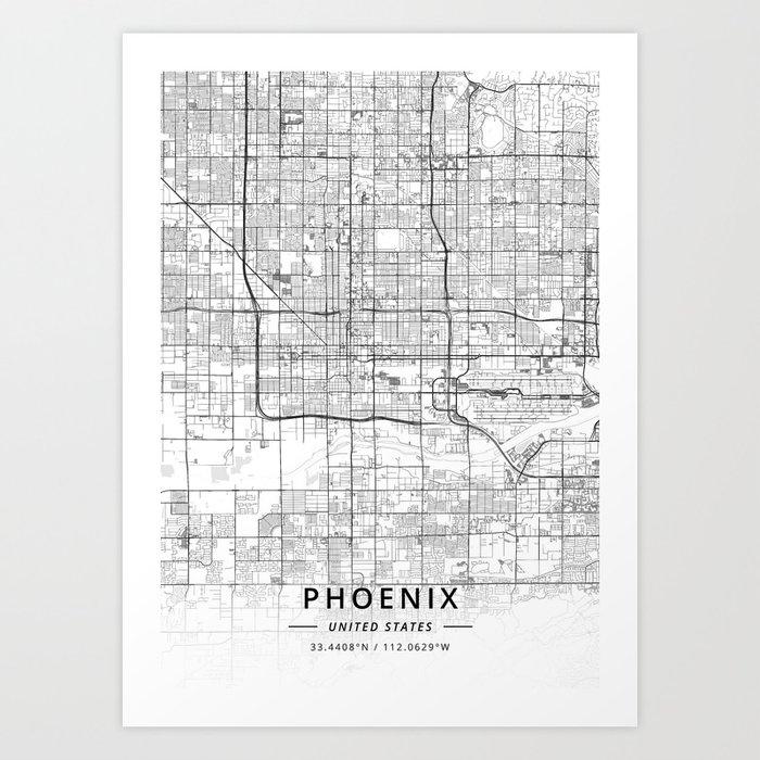 Phoenix, United States - Light Map Kunstdrucke