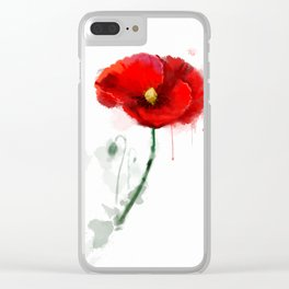 Red Poppy watercolor digital painting Clear iPhone Case