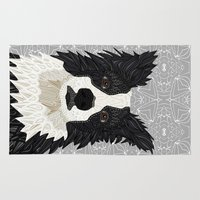 border collie Area & Throw Rugs featuring Beautiful Border Collie by ArtLovePassion